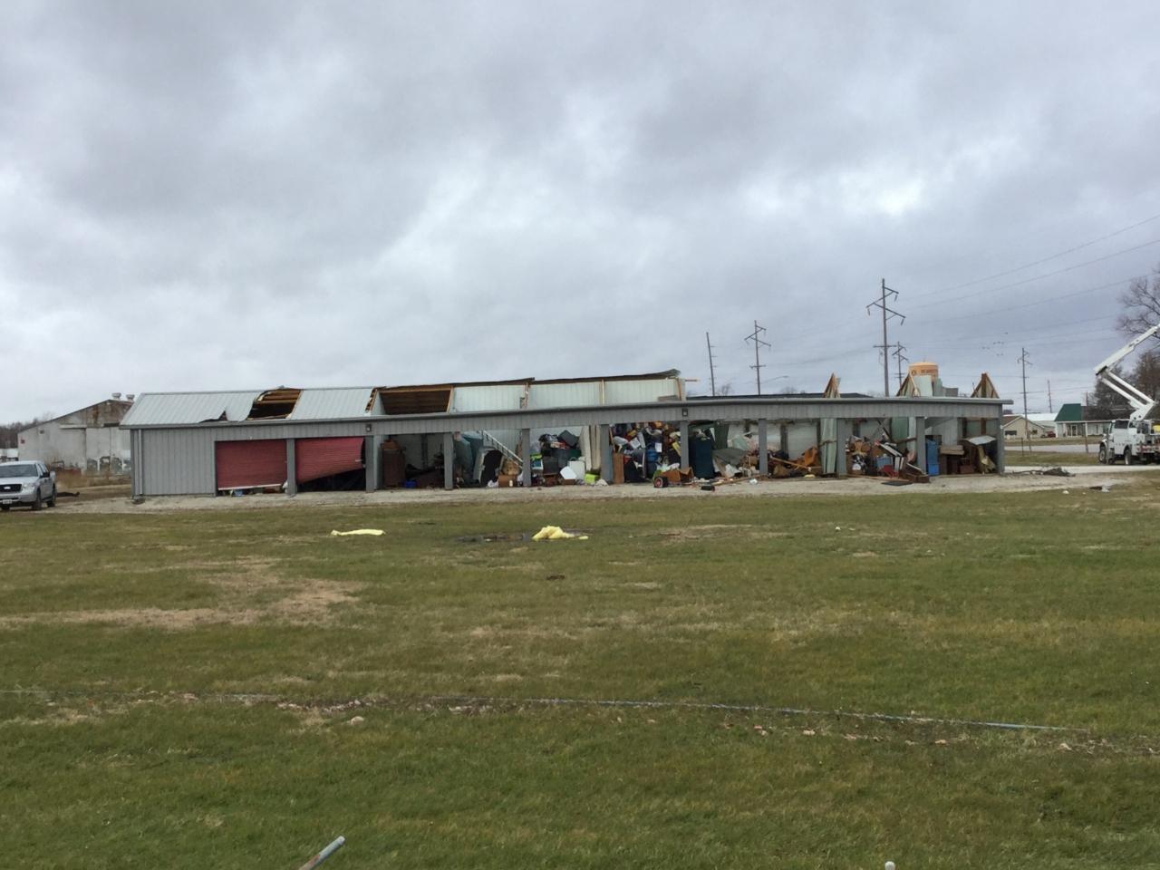 Building damage. NWS survey photo.